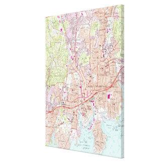 Impressão Em Tela Stamford Connecticut Mapa (1987)