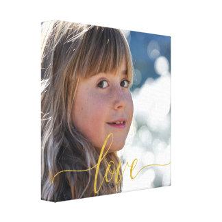 Impressão Em Tela Sua foto com roteiro da tipografia do amor do ouro
