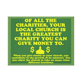 Impressão Em Tela Sua igreja é a grande caridade