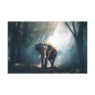 Impressão Em Tela Sun afagou o elefante na arte da parede da