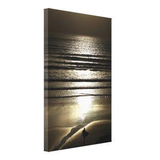 Impressão Em Tela Surfista do por do sol em Polzeath