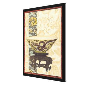 Impressão Em Tela Tapeçaria asiática com design da bacia e do dragão