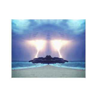 Impressão Em Tela Temporal nos trabalhos de arte originais da praia