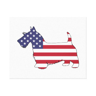 """Impressão Em Tela Terrier escocês - """"bandeira americana """""""