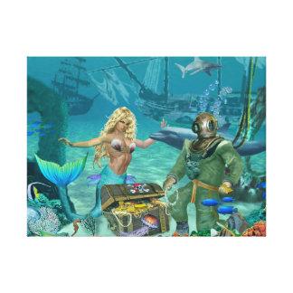 Impressão Em Tela Tesouro do recife de corais da sereia