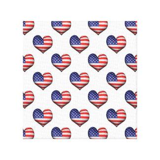 Impressão Em Tela Teste padrão dado forma coração da bandeira do