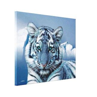 Impressão Em Tela Tigre branco azul