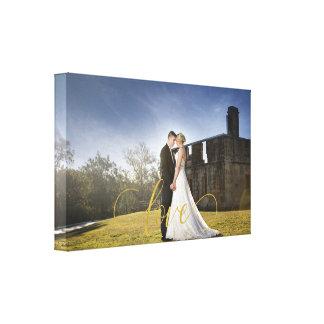 Impressão Em Tela Tipografia do amor do ouro da foto do casamento