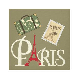 Impressão Em Tela Torre Eiffel icónica em Paris vermelha France