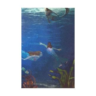 Impressão Em Tela Três sereias que nadam sob a água