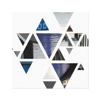 Impressão Em Tela triângulos abstractos azuis