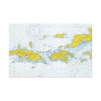 Impressão Em Tela U.S. Mapa náutico da carta de Virgin Islands