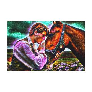 Impressão Em Tela Um homem & seu retrato grosso da pintura acrílica
