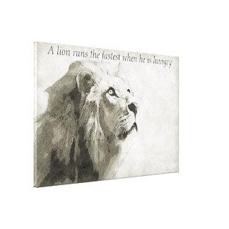 Impressão Em Tela Um leão funciona o mais rápido quando está com