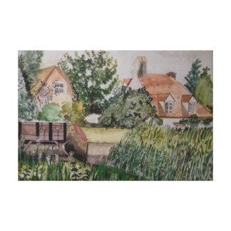 Impressão Em Tela Um Weir no sanduíche, Inglaterra, Watercolour