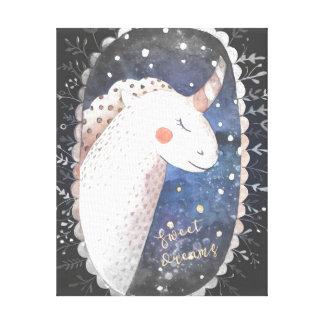 Impressão Em Tela Unicórnio dos sonhos doces de noite estrelado