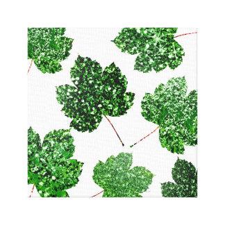 Impressão Em Tela Urbano botânico branco verde tropical da folha de