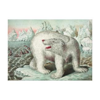 Impressão Em Tela Urso polar do vintage na ilustração 18X13 do