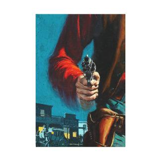 Impressão Em Tela Vaqueiro ocidental idoso do Gunslinger do vintage
