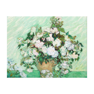Impressão Em Tela Vaso de Vincent van Gogh com rosas cor-de-rosa