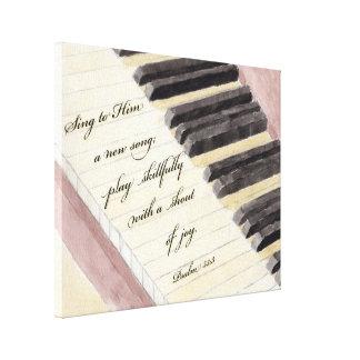 Impressão Em Tela Verso da aguarela & da bíblia do piano da arte da