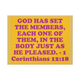 Impressão Em Tela Verso da bíblia de 1 12:18 dos Corinthians.