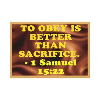 Impressão Em Tela Verso da bíblia de 1 15:22 de Samuel.