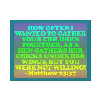 Impressão Em Tela Verso da bíblia do 23:37 de Matthew.