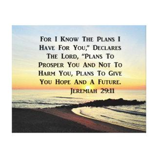 IMPRESSÃO EM TELA VERSO DA BÍBLIA DO 29:11 DE JEREMIAH DO NASCER DO