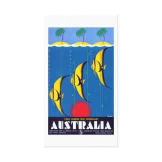 Impressão Em Tela Viagem de Austrália do recife de coral do vintage