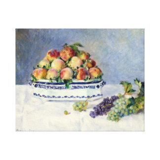 Impressão Em Tela Vida de Auguste Renoir ainda com pêssegos e uvas