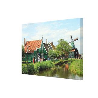 Impressão Em Tela Vila holandesa do moinho de vento, Holland