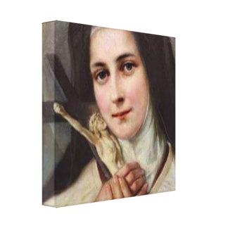 Impressão Em Tela Vintage St.Therese pouco crucifixo da flor