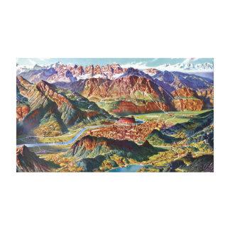 Impressão Em Tela Vintage Trient e o mapa de Italia das dolomites de