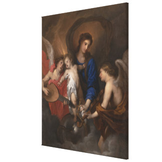 Impressão Em Tela Virgin e criança com anjos do fazer da música