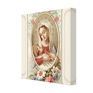 Impressão Em Tela Virgin Madonna Mary com os rosas de Jesus da
