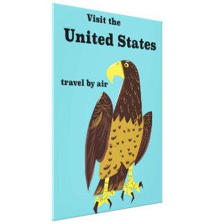 Impressão Em Tela Visite o poster de viagens de Estados Unidos