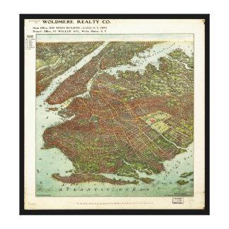 Impressão Em Tela Vista aérea de Brooklyn, New York (1908)