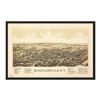 Impressão Em Tela Vista aérea de Schuylerville, New York (1889)