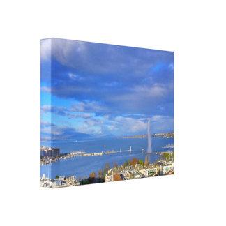 Impressão Em Tela Vista panorâmica do jato de água de Genebra