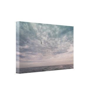 Impressão Em Tela Vôo da gaivota sob um céu nebuloso