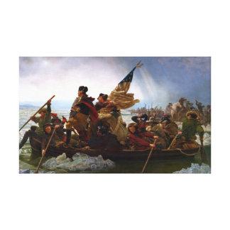 Impressão Em Tela Washington que cruza o Rio Delaware
