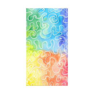 Impressão Em Tela Watercolour do Squiggle do arco-íris