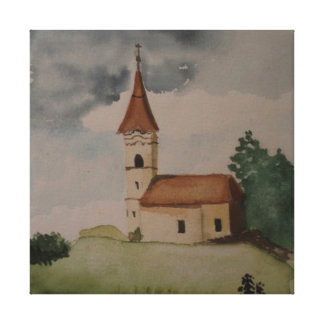Impressão Em Tela Watercolour inglês medieval da igreja