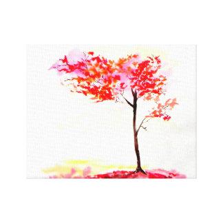 Impressão Em Tela Watercolour vermelho e alaranjado brilhante da