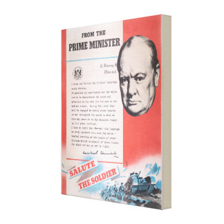 Impressão Em Tela Winston Churchill, reprodução do poster WW2