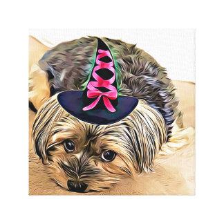 Impressão Em Tela Yorkshire terrier bonito com chapéu da bruxa