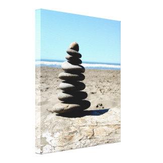 Impressão empilhado da cena do oceano das rochas