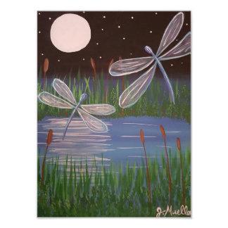 Impressão enluarada da foto das libélulas