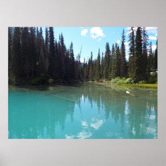 Impressão esmeralda do poster do lago